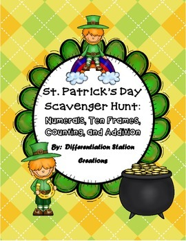 St. Patrick's Day Math Scavenger Hunt: Numerals, Ten Frames Counting Cardinality