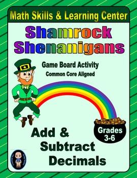 St. Patrick's Day Math Skills & Learning Center (Add & Sub