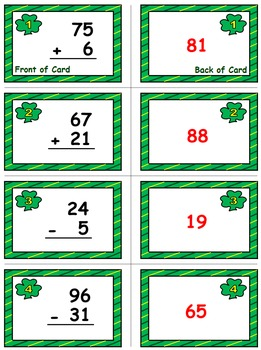 St. Patrick's Day Math Skills & Learning Center (Add & Subtract Within 100)
