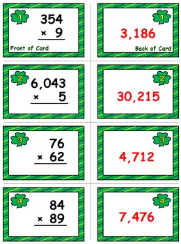 St. Patrick's Day Math Skills & Learning Center (Multiply Whole Numbers)
