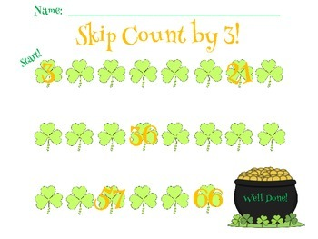 St. Patrick's Day Math:  Skip Counting by 2, 3, 5, 10, & 25
