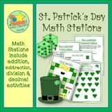 St. Patrick's Day Math - Addition, Subtraction, Division and Decimal Numbers