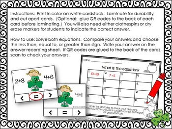 St. Patrick's Day Math Stations (QR Code Activities)