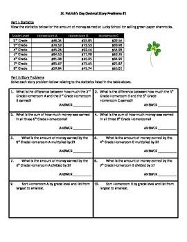 St. Patrick's Day Math Story Problems - Decimals