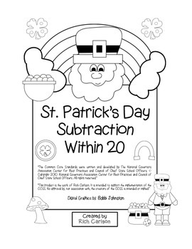 """St. Patrick's Day Math"" Subtract Within 20 - Common Core -  Fun! (black line)"
