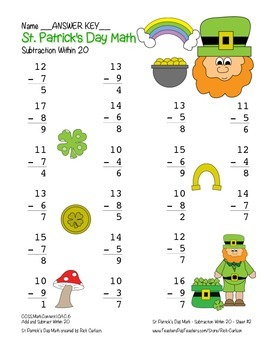 """St. Patrick's Day Math"""" Subtract Within 20 - Common Core - Fun! (color)"""