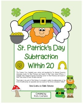 """St. Patrick's Day Math"""" Subtract Within 20 - Common Core -"""