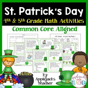 St. Patrick's Day Math Task Cards -  4th and 5th Grade Common Core