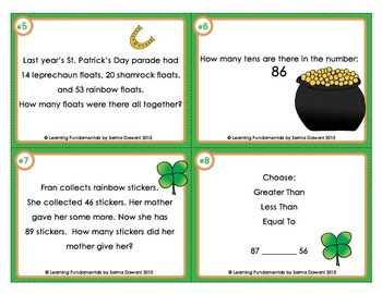 St. Patrick's Day Math Task Cards for Second Grade