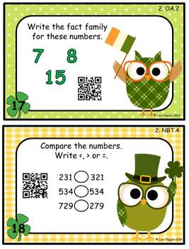 St. Patrick's Day Math Task Cards with QR Codes