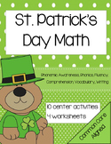 Kindergarten St. Patrick's Day Math Activities and Lessons common core aligned