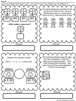Math Word Problems for March ~ Grades 2-3