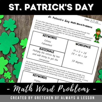 St. Patrick's Day Math Word Problem Worksheet #feelinglucky17