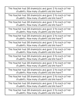 St. Patrick's Day Math Word Problems! (FREEBIE!)