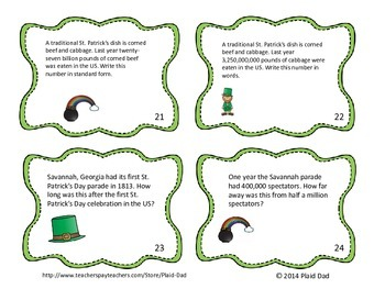 St. Patrick's Day Math Word Problems Task Cards