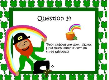 St Patrick's Day Math Worded Problems Fractions Decimals Percent