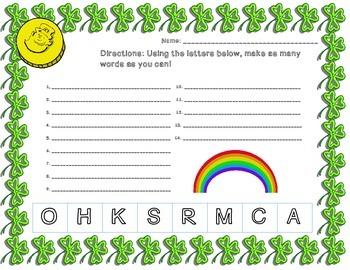 St. Patrick's Day Math and Literacy Bundle