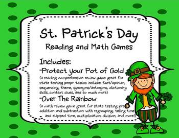 St. Patrick's Day Math and Literacy Game Pack - COMMON COR