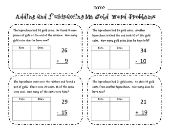 St. Patrick's Day Math sheets