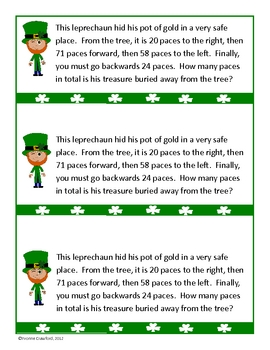 St. Patrick's Day Math Journal Prompts (3rd & 4th grade)