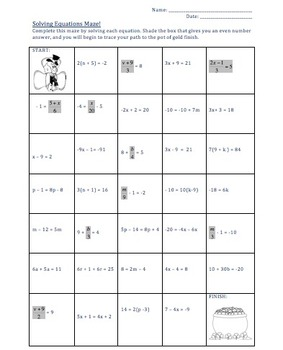 St. Patrick's Day Maze - Solving Multi-Step Equations