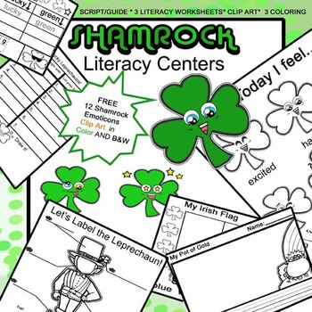 St. Patrick's Day Mega Clip-Art and WS Bundle for 4 Literacy Centers!