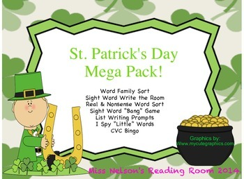 St. Patrick's Day Mega Pack! 7 Literacy Center Activities!