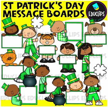 St Patrick's Day Message Boards Clip Art Bundle {Educlips Clipart}