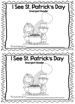 St. Patrick's Day Sight Word Emergent Reader w/ worksheets (I, see, a)