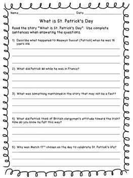St. Patrick's Day Mini Book and Reading Comprehension pages