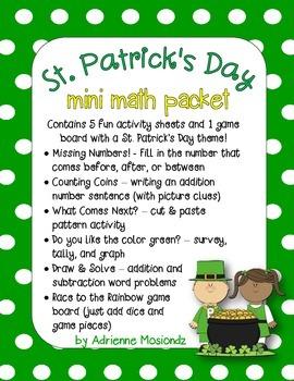 St. Patrick's Day Mini Math Packet