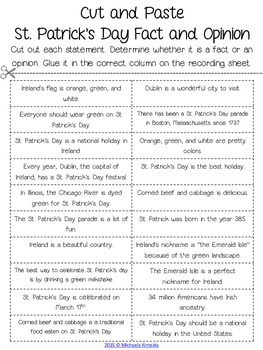 St. Patrick's Day Printables: ELA and Math