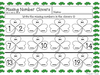 St. Patrick's Day Missing Number 1-20 Flashcards and Worksheets