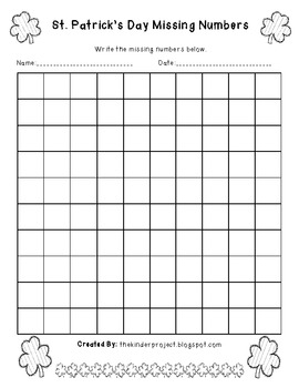 St. Patrick's Day Missing Numbers - 1 - 100 Number Practice Sheets