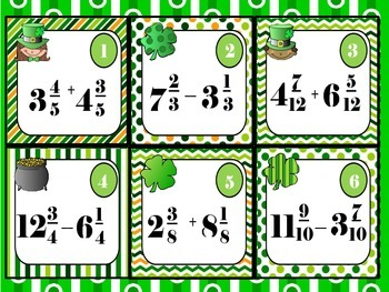 St. Patrick's Day Mixed Numbers Fractions