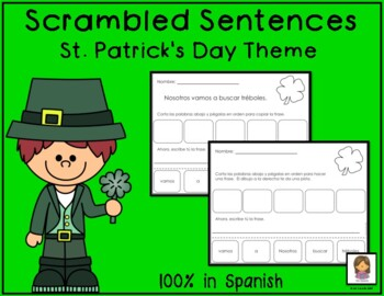 St Patrick's Day Mixed Up Sentences (Spanish) Cut and Paste
