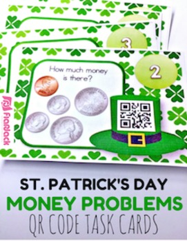 St. Patrick's Day Money QR Code Task Card Fun
