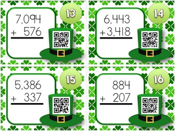 St. Patrick's Day Multi-Digit ADDITION QR Code Task Card Fun