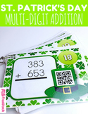 St. Patrick's Day Multi-Digit ADDITION QR Code Task Card Fun
