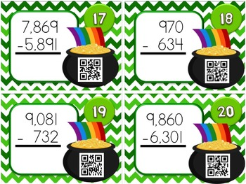 St. Patrick's Day Multi-Digit SUBTRACTION QR Code Fun