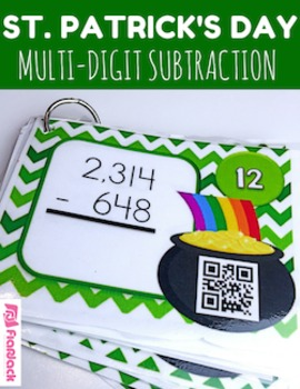 St. Patrick's Day Multi-Digit SUBTRACTION QR Code Fun