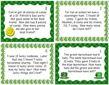 St. Patrick's Day Multi-Step Story Problems