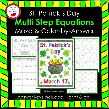 St. Patrick's Day Math Multi Step Equations Maze & Color b