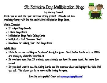 St. Patrick's Day Multiplication Bingo
