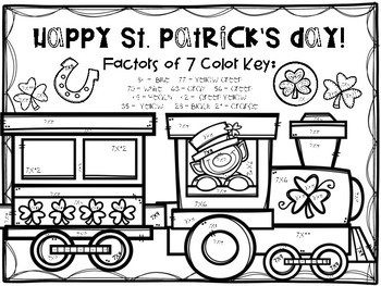 St. Patrick's Day Multiplication Color-By-Number