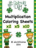 St. Patrick's Day Multiplication Coloring Sheets {x2, x5, x10}