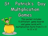 St Patrick's Day Multiplication Games- All Facts from 0 x 0 to 12 x 12