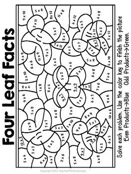 St. Patrick's Day Multiplication Mosaics-Fun Fact Practice!