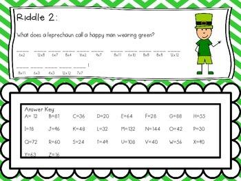 St. Patrick's Day Multiplication Riddles