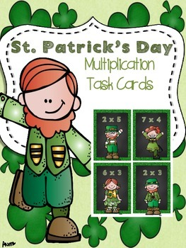 St. Patrick's Day *Multiplication* Scoot or Math Center Activity
